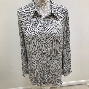 CAbi Black and White Split Back Blouse Size M